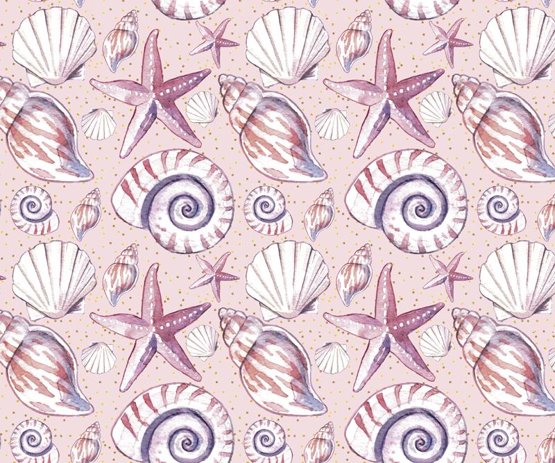 TenVinilo. Alfombrilla de ratón texturas vida marina. Alfombrilla de ratón original con diseño de vida marina en color lila con elementos marinos como conchas, caracoles, estrellas de mar.