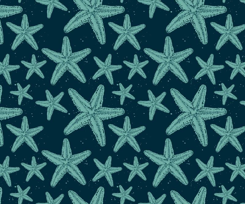 TenVinilo. Alfombrilla ratón estrellas  mar turquesa. Alfombrilla de ratón original con un diseño de muchas estrellas de mar de diferentes tamaños en varias tonalidades de azul marino ¡Envío exprés!
