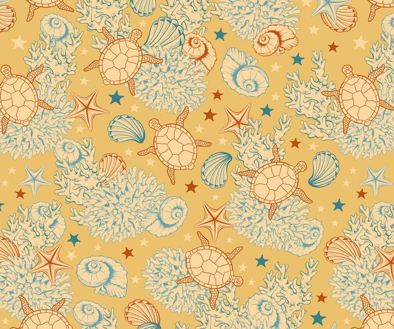 TenVinilo. Alfombrilla de ratón beige vida marina. Alfombrilla de ratón original con un diseño de vida marina de tortugas, conchas marinas, conchas marina y caballitos de mar ¡Envío exprés!