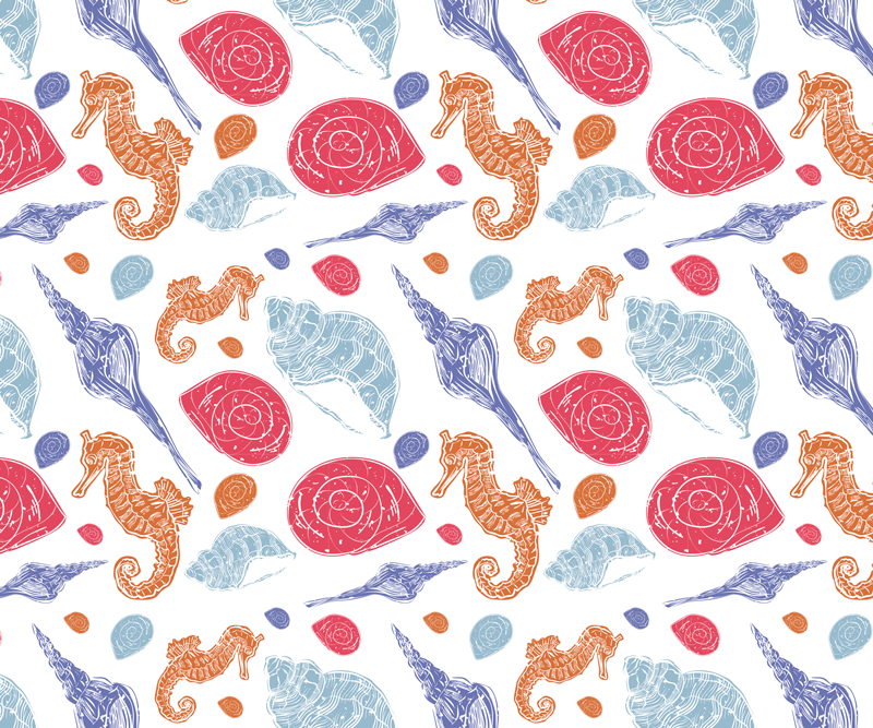 TenStickers. Undersea Tiles sea life mouse mat. Sea life mouse mat with design with illustration of seahorses, seashells, starfish, etc. with blue, red, yellow colors and white background.