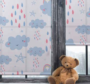 Dešťové kapky s úsměvem a slepým designem cloudového okna pro okno dětské ložnice nebo herny. Vyrobeno z kvalitní látky a přizpůsobitelné.