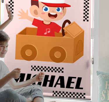 šťastné dítě řidič vytištěné okno slepý. Rozveselte své dítě tímto krásným dětským designem hračky pro roletu.