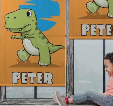 Zelená t-rexová potištěná okenní roleta s krásnou barvou pozadí. Můžete jej přizpůsobit jménem a je ideální pro dětskou ložnici.
