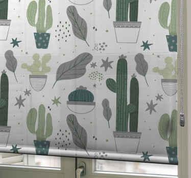 Zelená kaktusová žaluzie do kuchyňského prostoru, do dětské ložnice a do jakéhokoli jiného prostoru, který chcete. Snadno se instaluje a materiál je vysoce odolný.
