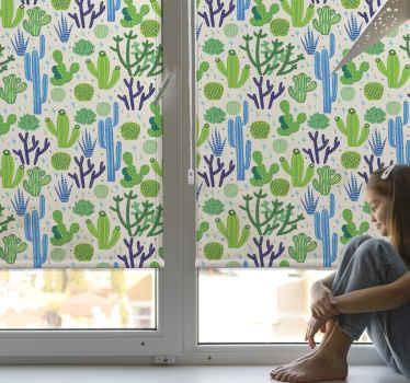 """Ozdobte si svůj dům touto úžasnou """"modrou a zelenou kaktusovou roletou"""", bude vypadat naprosto úžasně v každé místnosti, bude to portrét. Objednat teď!"""