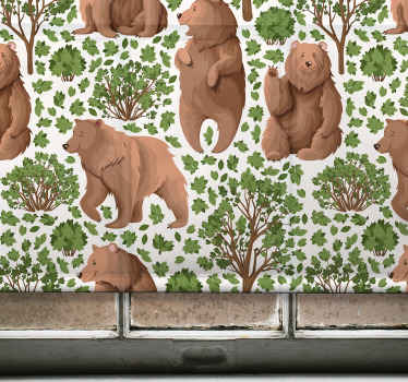 Tato kuchyňská roleta je založena na bílém pozadí se spoustou hnědých divokých medvědů a zelených stromů. Vyberte mechanismus a materiál. Muset koupit!