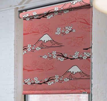 Tato roleta do ložnice založená na krásném růžovém pozadí s náčrtem hor a rozkvetlých bílých větví stromů. Předinstalovaný. Donáška domů!