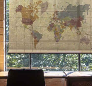 Tato roleta v obývacím pokoji je založena na béžovém pozadí s mapou starého světa v odplavených barvách. Již předinstalovaný! Donáška domů!