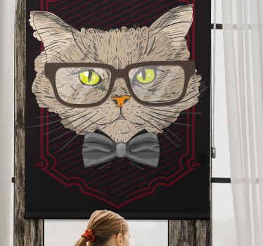 Tato dětská roleta je založena na bílém pozadí s velkým obličejem kočky v brýlích a s motýlkem. Vyberte mechanismus a materiál!