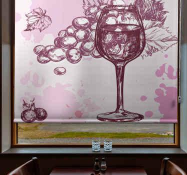 Tato bílá roleta je založena na bílém pozadí se značkami rozlitého vína a náčrtem sklenice na víno a hroznů. Předinstalovaný!