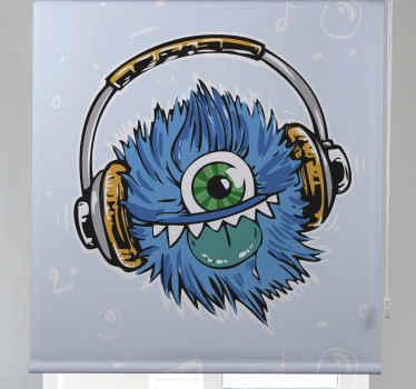 Tato dospívající roleta je založena na světle modrém pozadí s velkou grafikou modrého, chlupatého monstra se sluchátky na uších. Předinstalovaný!