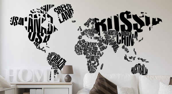 Wandtattoos Weltkarte