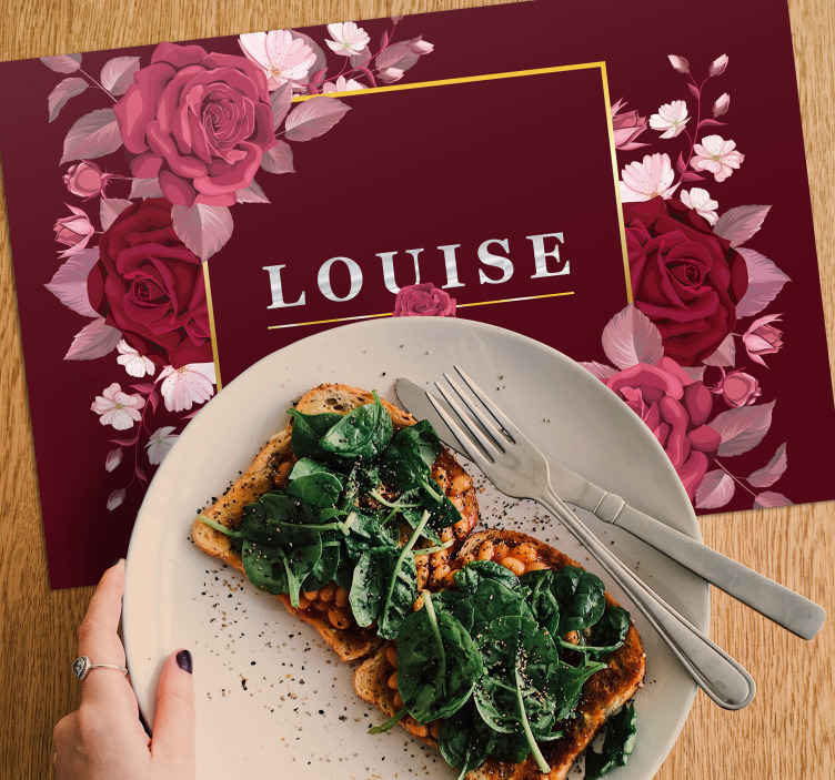 TenStickers. Customisable with roses name vinyl placemats. Elegant table placemats with text chosen by you. It can be your name, or any other name of people that live with you! Designed especially for you!