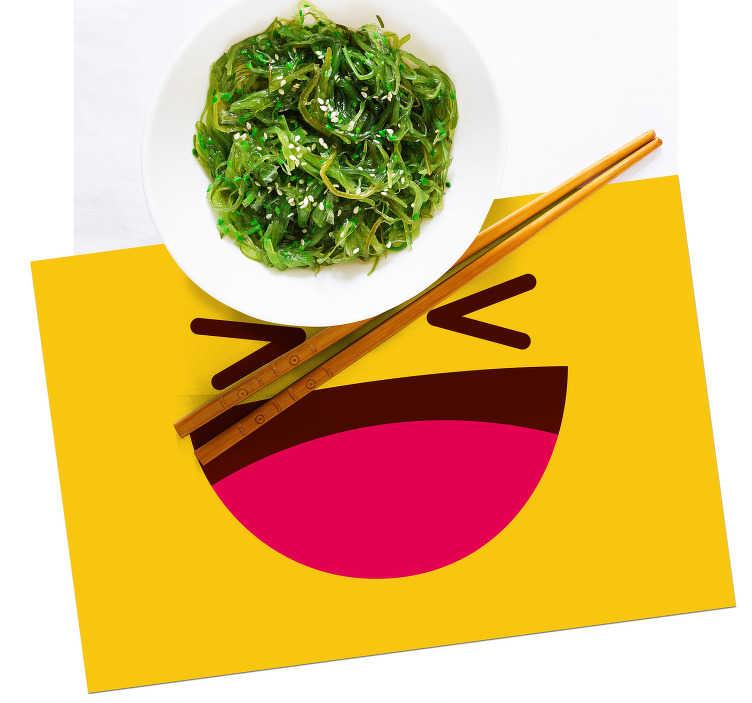 Tenstickers. Moderna emoji skrattande ansikte barn vinyl bordstabletter. Barn bordstabletter med ett stort leende på den gula bakgrunden är en högkvalitativ produkt som förvandlar dina måltider till en behaglig upplevelse!