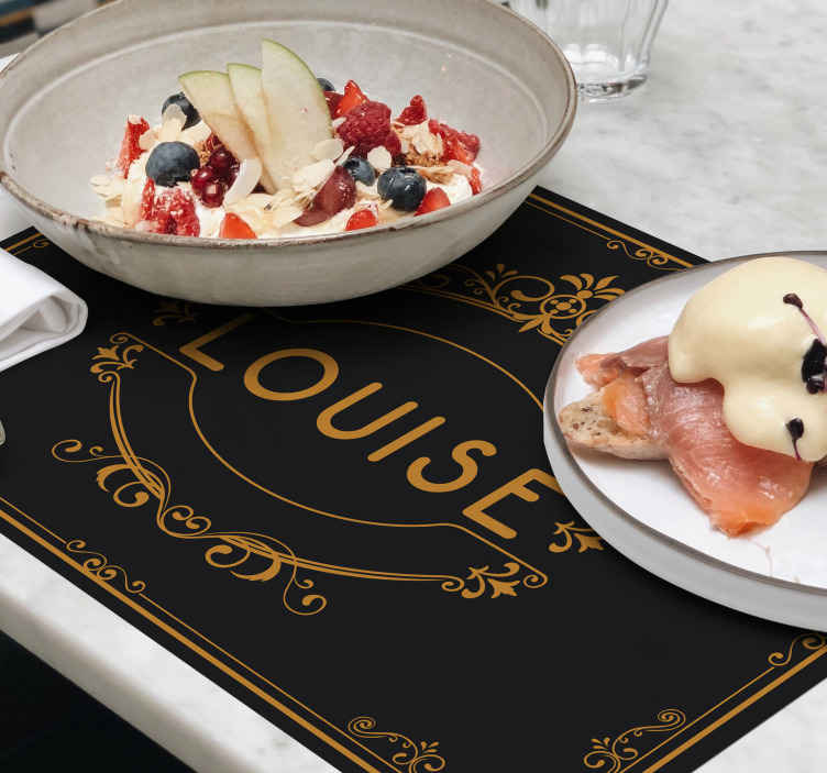 TenStickers. Ornamental name placemats. Full of elegance black placemats with the name of your choice. Those can be your new reastaurant placemats. Easy to clean!