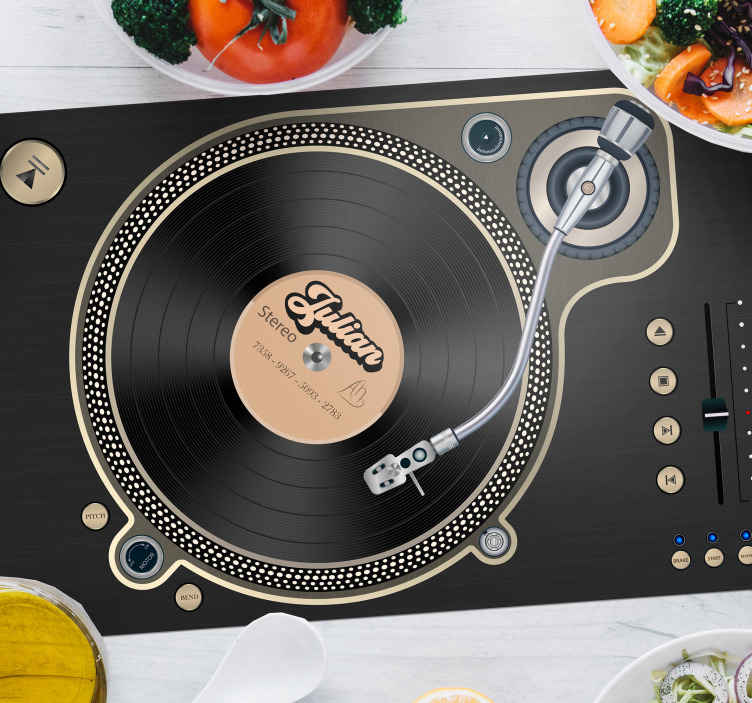 TenStickers. Vinyl disc name vinyl placemats. High quality black colored vinyl placemats will transform all of your meals into the pleasureable experience. Easy to clean!