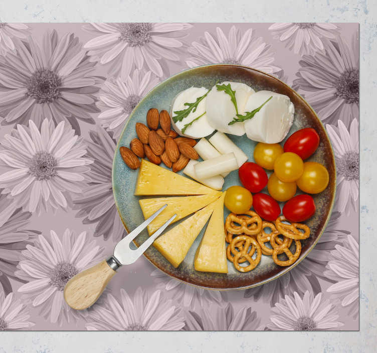 TenStickers. Tropical flower floral vinyl placemats. Decorate every place in your house, including the table. This rectangular placemat with flowers is just perfect for you.