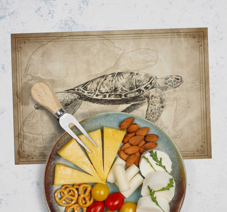 TenStickers. Sepia Hand Drawn Turtle animal vinyl placemats. If you love classic decors and want to give a vintage touch to your table, then these vintage placemats are perfect for you.