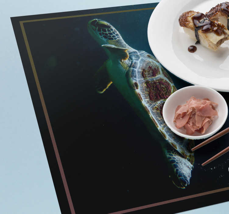 TenStickers. Swimming Turtle home vinyl placemats. Make your dinner time an interactive and fun time with these amazing turtle vinyl placemats with a realistic image of a turtle swimming.