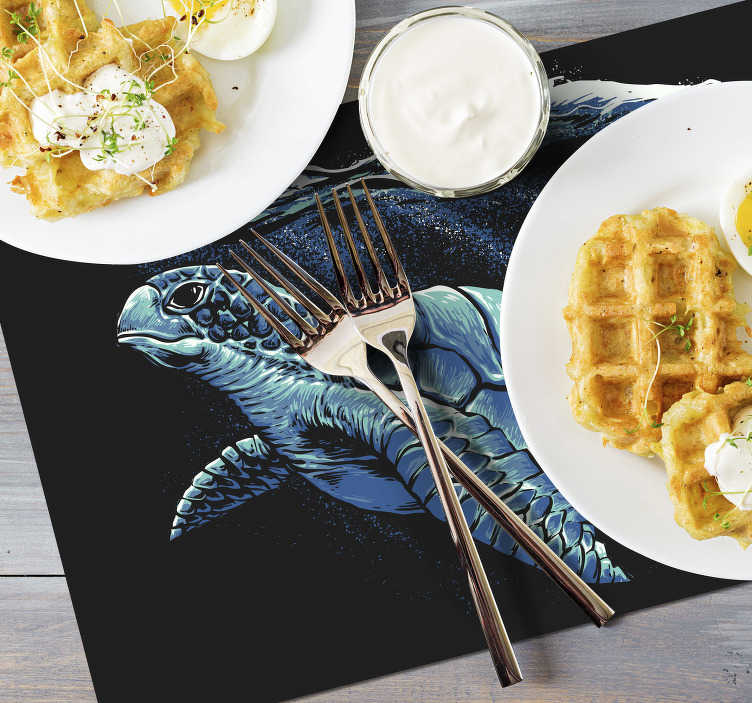 TenStickers. Turtle hand drawing turtle vinyl placemats. Make your dinner time an interactive and fun time with these amazing turtle vinyl placemats with a realistic image of a turtle swimming.