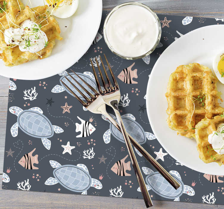 TenStickers. Turtles and Fish Under Sea turtle vinyl placemats. Make dinner time the best part of your day by decorating your table with these wonderful vinyl placemats with turtles. Choose your size.
