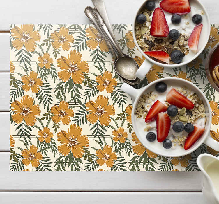 TenStickers. Yellow tropical flowers textured vinyl placemats. Fantastic placemats full of yellow, tropical flowers on the neat white background. Everyone will be amazed with those table mats!
