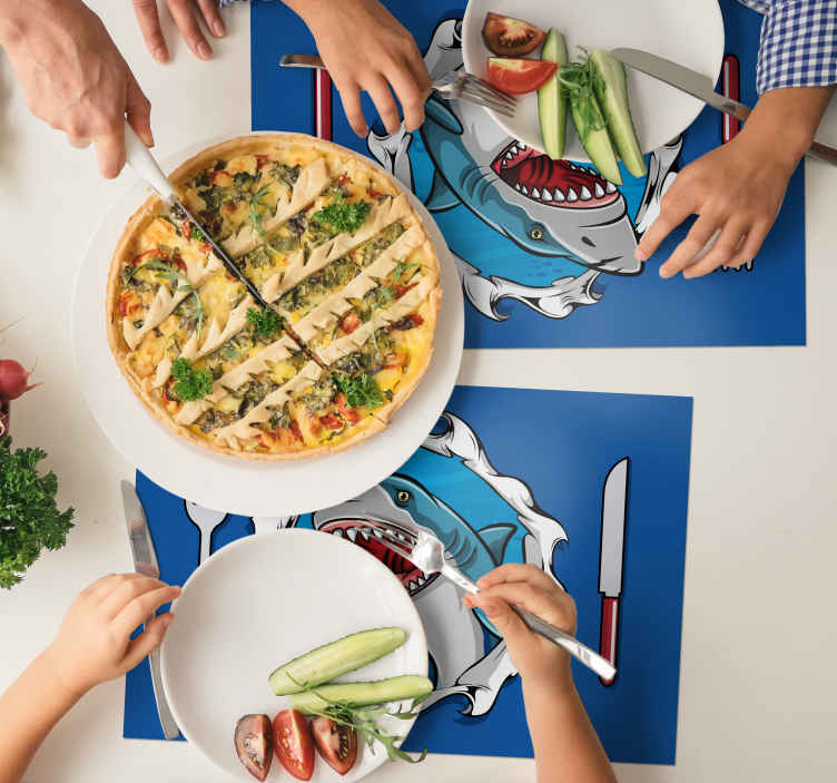 TenStickers. Big shark 3D fish vinyl placemats. Fish vinyl placemats in a blue colour are such an amazing decoration for your table. Cute shark with the 3D effect is an amazing design!