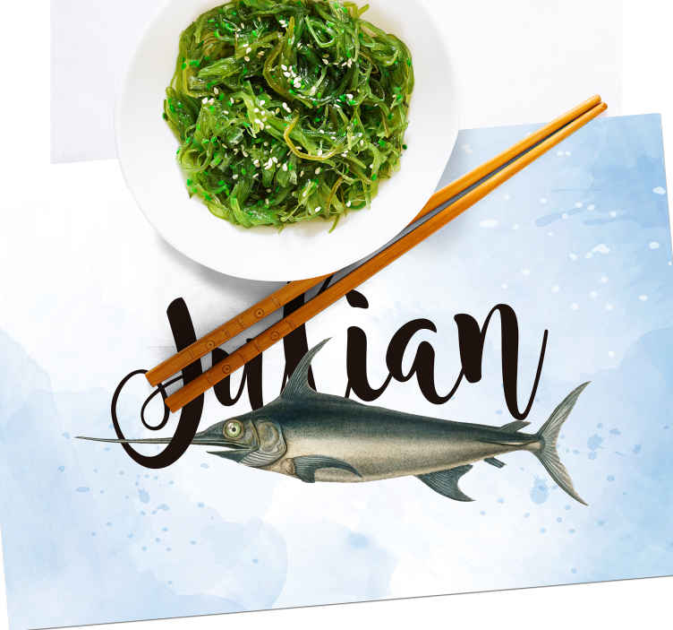 TenStickers. Swordfish with name fish vinyl placemats. Rectangle table mats with a swordfish are a phenomennal decoration for your tables! Customize it with your name and be proud of your home!