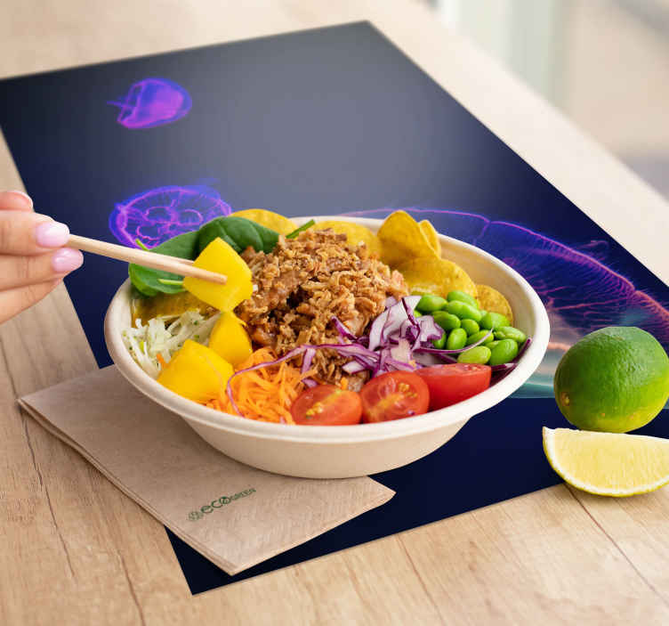 TenStickers. Multicolored Jellyfishes fish vinyl placemats. Admirable rectangle table mats with a stunning jellyfish in the void of the deep ocean. Register to get a 10% discount !