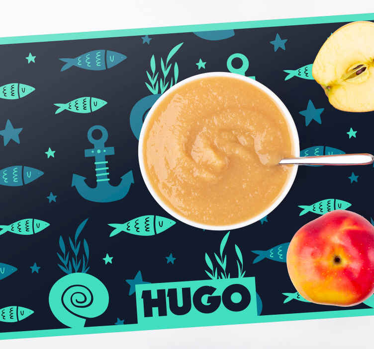 TenStickers. Fish and anchor under sea fish placemats. Personalized name placemats with the design of fish and sea symbols are made in such a good combination of colours! Register to get 10% discount!