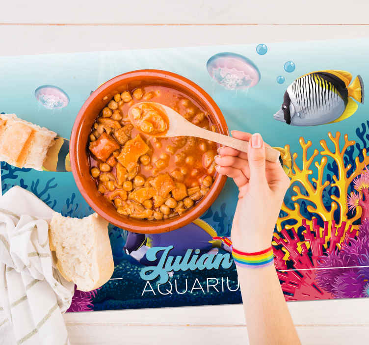 TenStickers. Fish swimming under the sea fish vinyl placemats. Placemats for home with the design of a fish is perfect for your tables. Made out of high quality and available in different sizes!