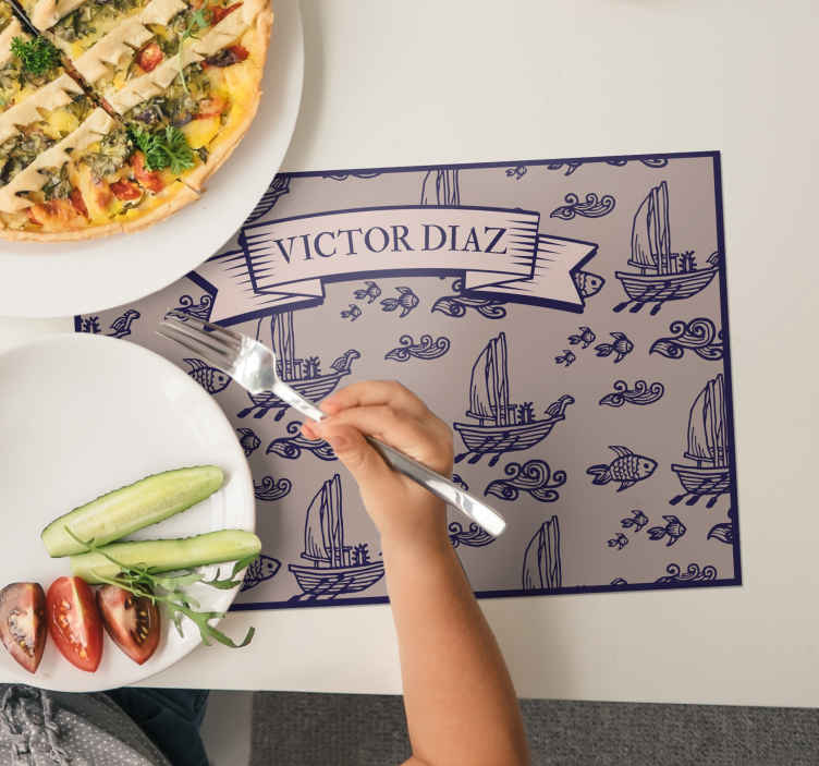 TenStickers. Marine boat and fish name vinyl placemats. Personalized name vinyl placemats should be in every household. Amazing desing of fish and boats will make your family members really happy!