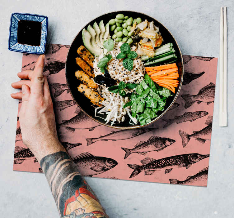 TenStickers. Hand drawn fish placemats. Home placemats with fish can transform your table into state of art. Marvelous design and original colours. Table mats available in different sizes!