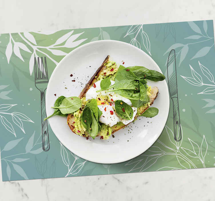TenStickers. Plate and cutlery with watercolour colours modern vinyl placemats. A stunning watercolour plate and cutlery placemat perfect for upgrading any meal time! Don't delay, get yours right now!