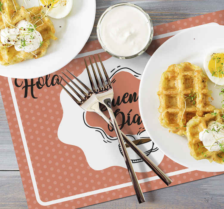 TenVinilo. Mantel individual frase sonríe a la vida. Un mantel individual original para el hogar y el restaurante con un diseño encantador. Es fácil de mantener ¡Envío a domicilio!