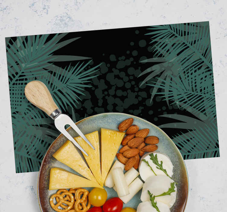 TenStickers. Tropical green plants original vinyl placemats. Tropical green plants original place-mats design for give an elegant touch to any dinning table space. It is easy to maintain and of high quality.