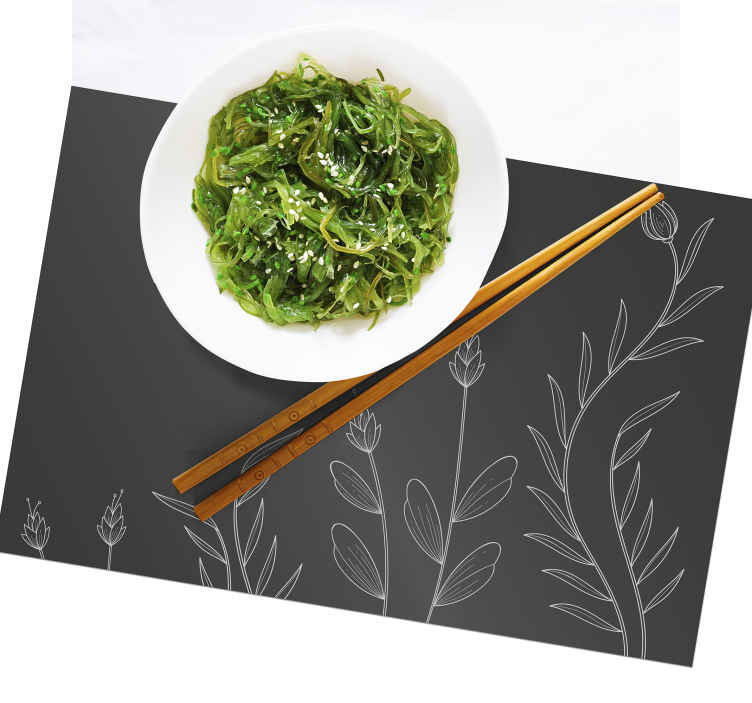 TenStickers. Back background with elegant plants elegant placemats. Add a touch of elegance on your dinning table space with our original vinyl place-mat for home. The product is easy to maintain and of high quality.