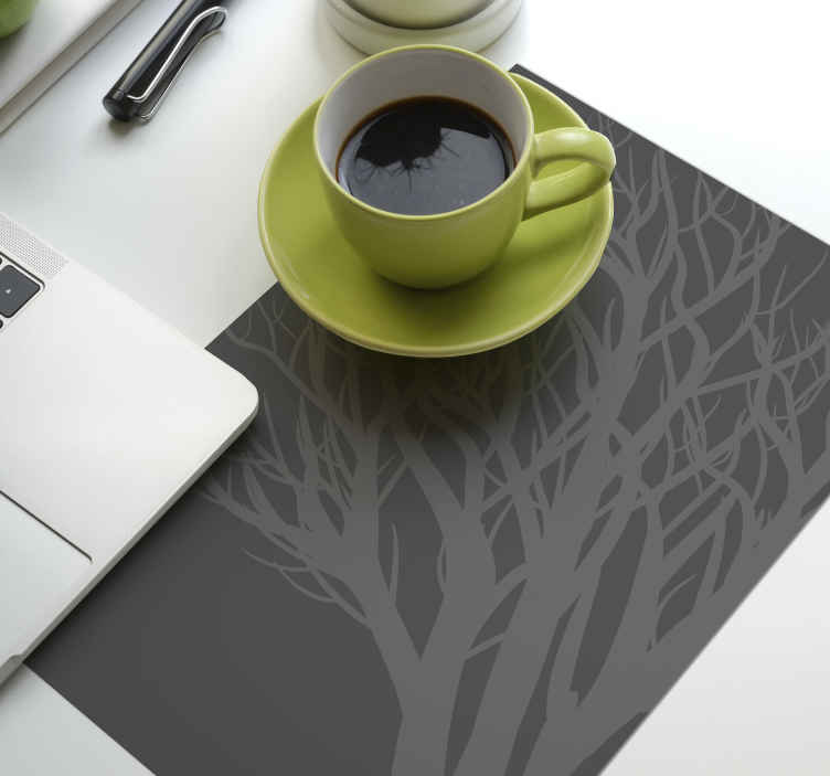 TenStickers. Elegant gray leaf elegant vinyl placemats. Enjoy your tea, coffee and meal on our grey colour elegant place-mat with ornamental tree design. The product is ideal for both home and restaurant.
