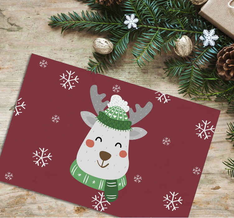 TenStickers. Christmas deer place-mat for children Christmas. Happy and funky Christmas place-mat for children.  A decorative element for dinning table space to serve meal to your kids , friends and family.