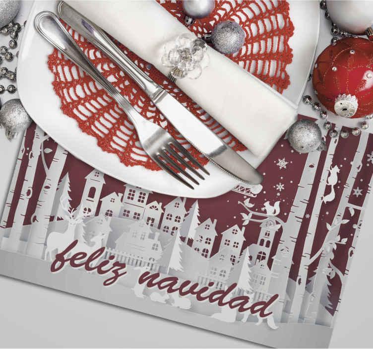 """TenVinilo. Mantel individual navideño con paisaje típico . Salvamanteles de navidad con un paisaje típico y la frase """"feliz navidad"""" para utilizar en estas fechas señaladas. Alta calidad ¡Envío a domicilio!"""