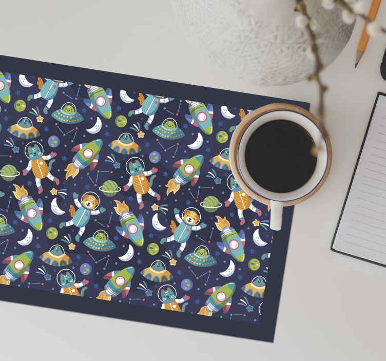 TenStickers. Recreation of the space children vinyl placemats. Children colorful table mat for dining space designed with amazing space featured in a fun and happy style. The product is made of high quality.