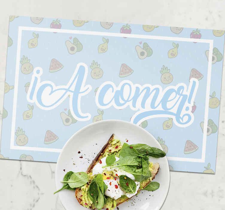 TenVinilo. Individual de mesa infantil de frutas felices. Emocione a sus hijos con nuestros originales manteles individuales para niños con un diseño azul y divertido de frutas ¡Envío a domicilio!