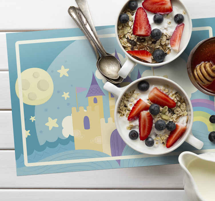 TenStickers. Princess' palace for children children placemats. Lighten up your dinning table space with classic touch of our kids princes palace placemats to enhance the table space for children in a fun way.