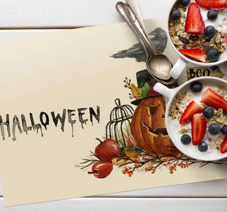 TenStickers. Watercolor Halloween rectangular vinyl placemats. Text place-mat designed in watercolor texture with the feature of Halloween dreadful design. The product is easy to maintain and of good quality.