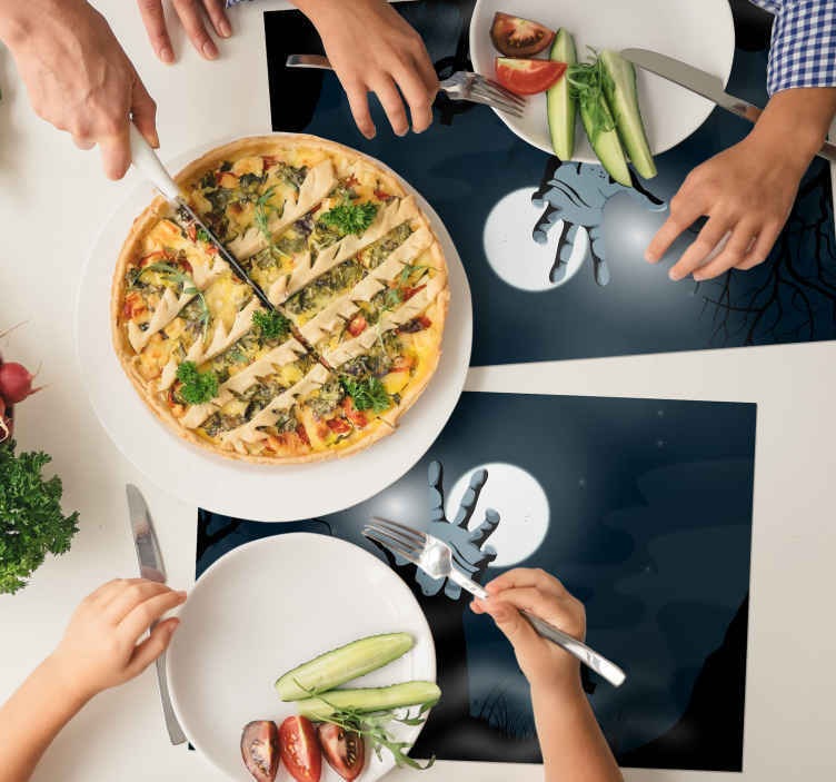 TenStickers. living Dead rectangular placemats. Beautiful black coloured vinyl place mat to keep your kitchen and dinning table space exceptional. It is made from high quality material.