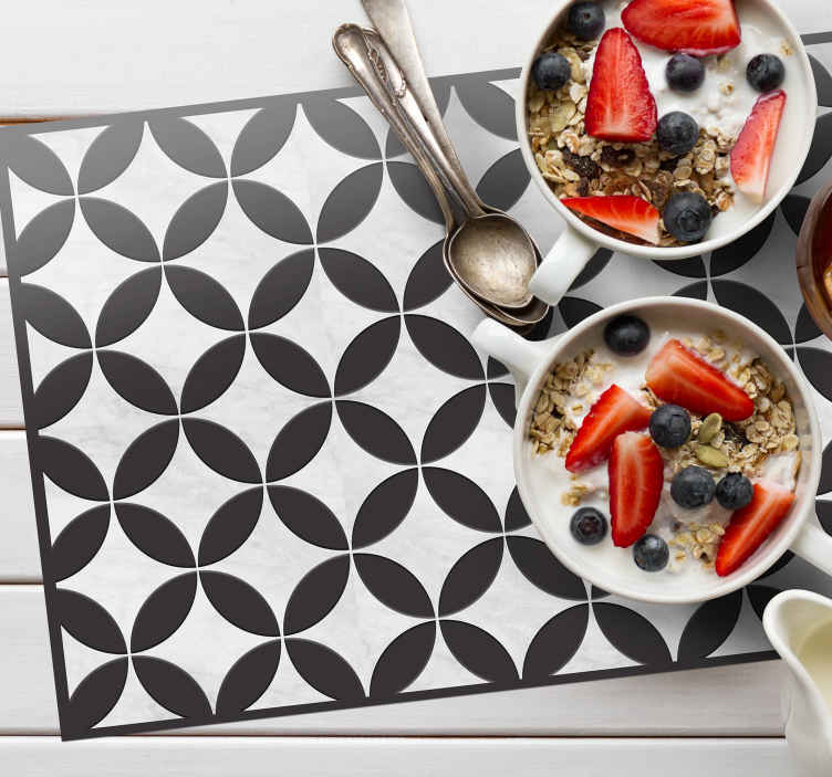 TenStickers. Black cement tile home vinyl placemats. Black colour home place-mat with special elegant design. The product is suitable for home and restaurant space, easy to maintain and of high quality.