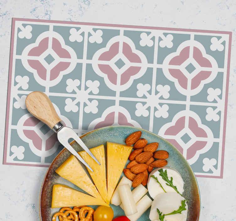 TenStickers. Houten placemat Pastel cementtegels. Ontwerp van pasteltegels in pasteltegelstijl om uw eettafelruimte te versieren met een klassiek tintje. Het is gemakkelijk te onderhouden en gemaakt van goede kwaliteit.