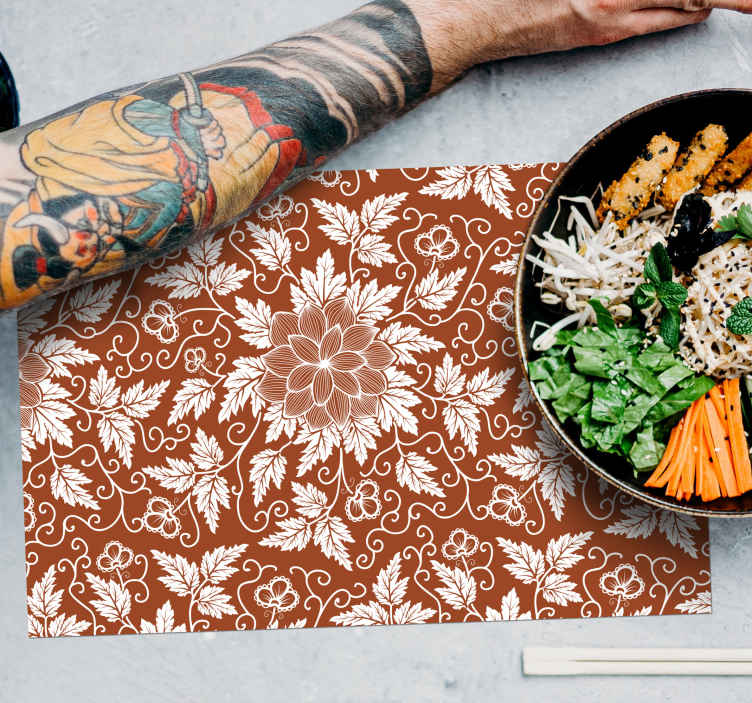 TenStickers. Floral Paisley Tile paisley vinyl placemats. Beautiful trendy place-mat with colorful paisley design on a brown background. It is easy to maintain, store and anti allergic.