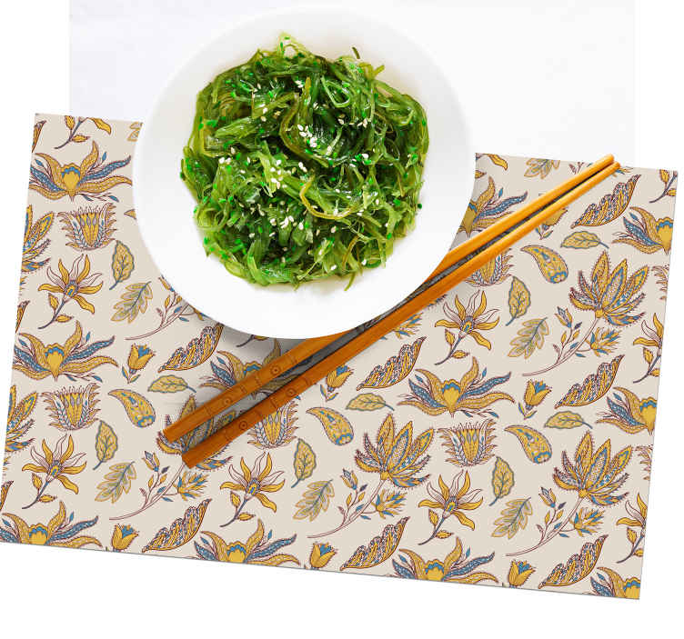 TenStickers. Paisley Flower Set paisley vinyl placemats. Flower Set paisley placemats for home and restaurants dinning tables decoration. It is easy to maintain, store and anti allergic.