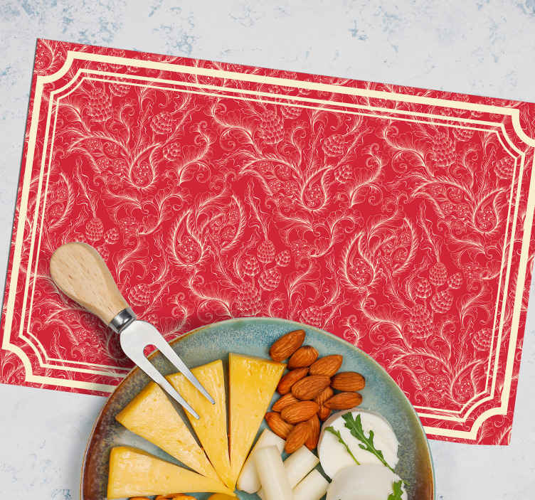 TenStickers. Paisley Illustration paisley vinyl placemats. A square design place mat for home and restaurants featured with paisley design. The product is of high quality material and very easy to maintain.
